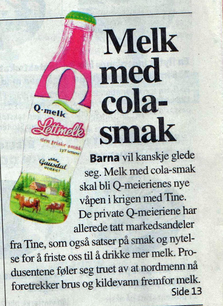 Cola-melk Aftenposten