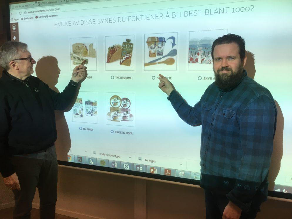 Meg og ForbrukerMads velger ut idéer fra Min Q-idé