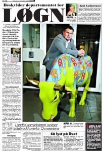 Faksimile VG tirsdag 24. oktober 2006 viser bilde av Landbruksminister Terje Ris-Johnsen som avviser at departementet han styrer farer med løgn