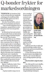 Avisutklipp av intervju av Bjarne Underheim, leder i Norges Bondelag