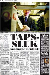 Faksimile fra VG 23.10.2006 viser et bilde av Q-sjefen Bent Myrdahl med melkekartonger og avisoverskriften Tapssluk