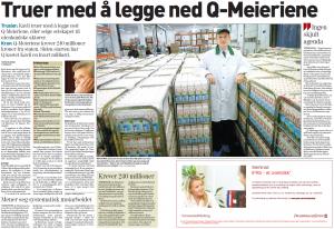 Faksimile av DN 02.10.2006 bilde av Q-sjefen Bent Myrdahl med melketraller i meierifrakk. Bilde av Kavlis konsernsjef Erik Volden
