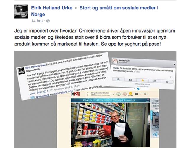 Screenshot fra Facebook som viser en forbruker som har tipset Q