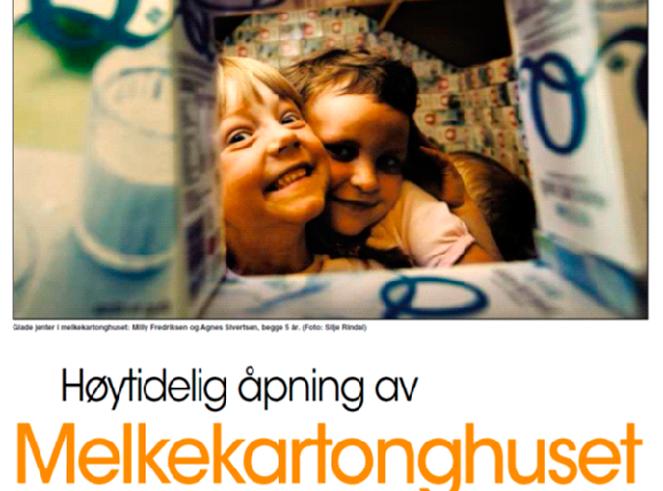 Faksimile Gudbrandsdalen Dagningen 3. juni 2008. Barna i Kornhaug barnehage i Gausdal satt musestille mens snora ble klippet for melkekartonghuset