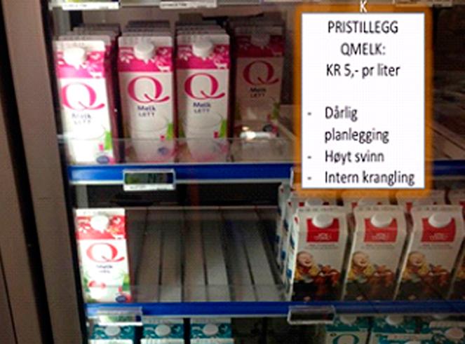 Bilde av kjøleskap med melk og en lapp som forestiller et falskt tillegg for Qmelk