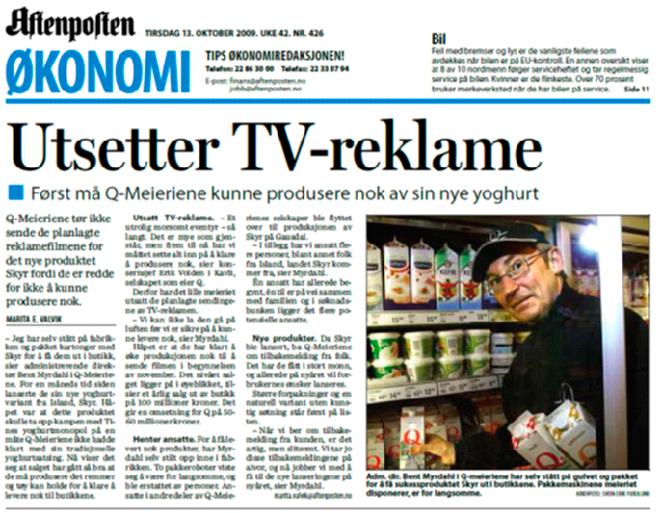 Faksimile Aftenposten-13 oktober 2009