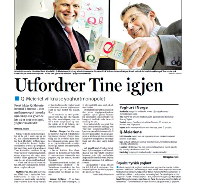 Faksimile Aftenposten 31. august 2009