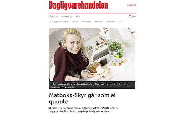 Faksimile av Dagligvarehandelen som viser produktsjef Ingrid Humlung med matboksfavoritten Skyr Mini