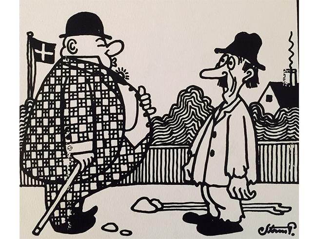 Tegning av en stor og en mindre mann som ser på hverandre og sier -Jeg er ude at samle appetitt til frokosten! – Og jeg er ude at samle frokost til appetitten!