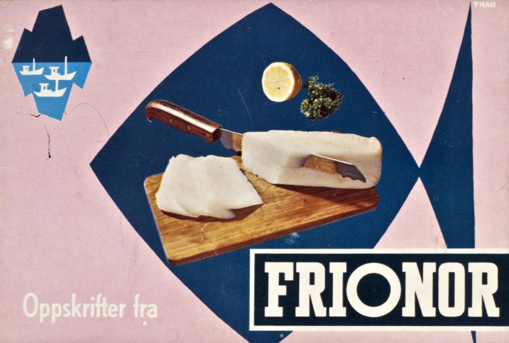 Gammel reklameplakat fra frionor viser en kniv som skjærer opp fisk
